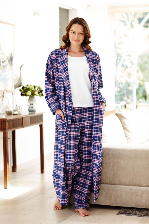 tartan brushed cotton dressing gown bonsoir. Black Bedroom Furniture Sets. Home Design Ideas