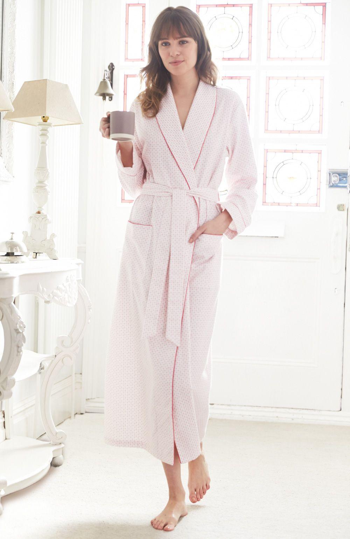 ladies brushed cotton dressing gown bonsoir. Black Bedroom Furniture Sets. Home Design Ideas