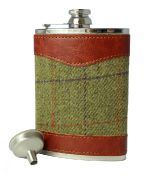 8oz Tweed & Stainless Steel Hip Flask WEB