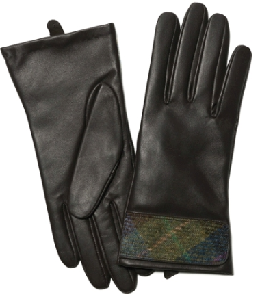 Leather Gloves with Harris Tweed Cuff