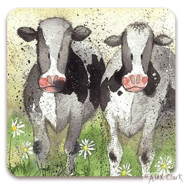 "Alex Clark ""Curious Cows"" Coaster"