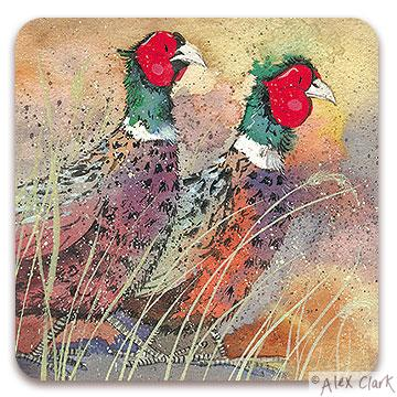 "Alex Clark ""Pleasant Pheasants"" coaster"