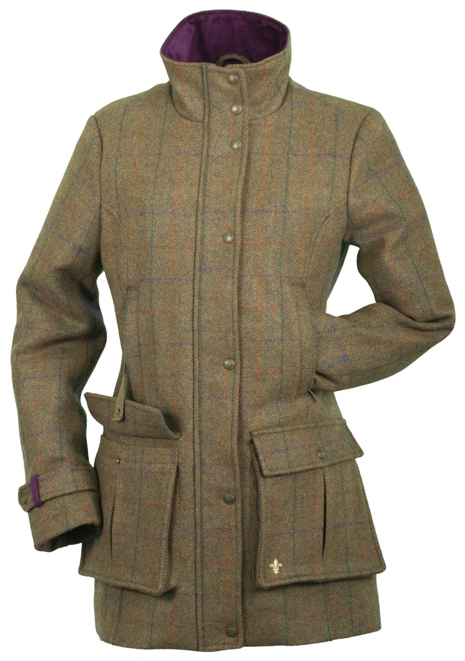 Product Description Fringe tweed jacket featuring two front pockets with decorative buttons.