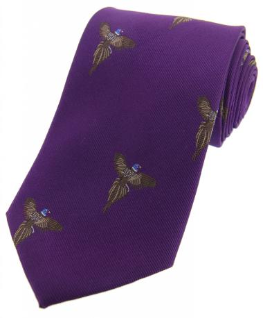 Woven Silk Tie - Pheasants in Flight (Purple)