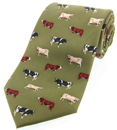 Printed Silk Tie - Cattle