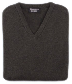 Hawick Men's Lambswool V-neck With Pheasant Emblem - Small