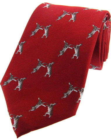 Woven Silk Tie - Boxing Hares