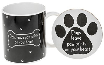 Dog Lover Mug & Coaster - Dogs Leave Paw Prints On Your Heart