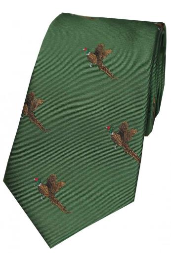 Woven Silk Tie - Flying Pheasants