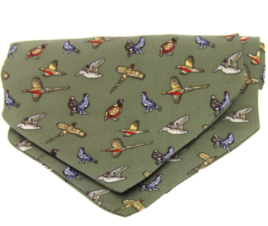 Country Silk Cravat - Game Birds