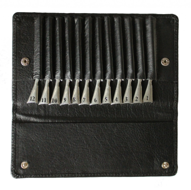 Peg/Position Finders In Leather Wallet - Pewter Guns (Side by Side)