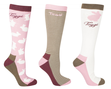 Toggi Arlene Ladies Socks (3 Pack) Shell - Rabbit Design