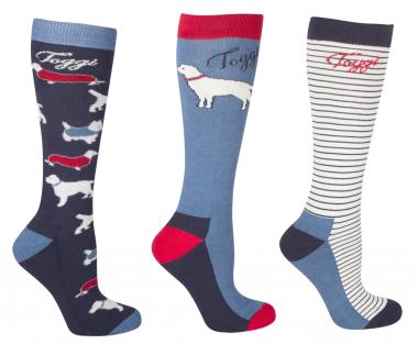 Toggi Raine Ladies Socks (3 Pack) - Night Blue Dog Design
