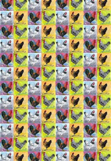 """Alex Clark """"Checkerboard Chickens"""" Tea Towel"""