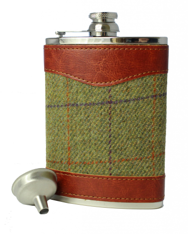 8oz Tweed & Stainless Steel Hip Flask