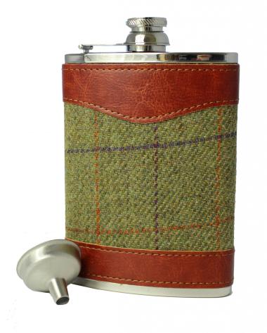 8oz Tweed & Stainless Steel Hip Flask