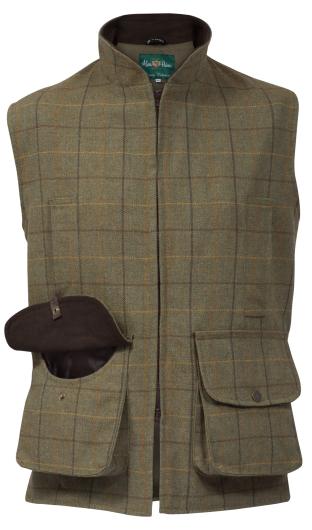 Alan Paine Rutland Kids Tweed Waistcoat (Dark Moss)