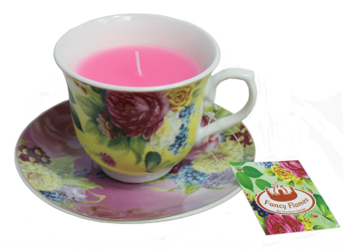 Floral teacup candle