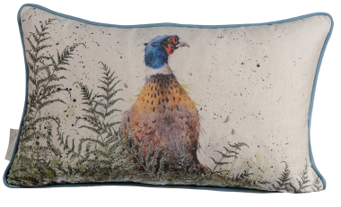 Pheasant and Fern Reversible Cushion