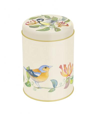 Garden Birds Round Storage Tin by Emma Ball