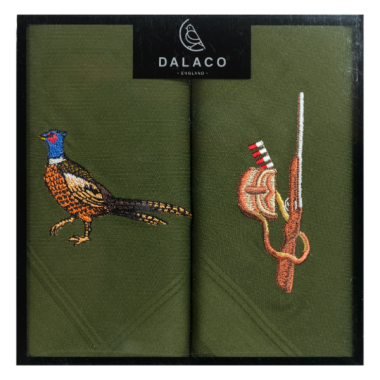 Pheasant/Shotgun Embroidered Handkerchief Set