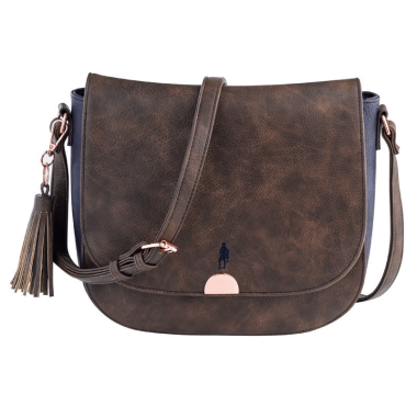 Jack Murphy Ace Saddle Shoulder Bag (Tan and Navy)