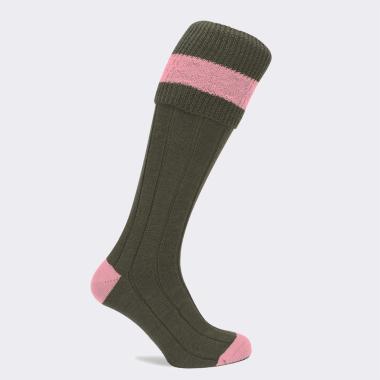 Children's Pennine Byron Shooting Socks (Olive/Pink)