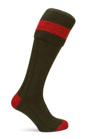 Pennine Byron Shooting Socks (Olive/Ruby) - SIZE 3-5