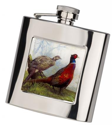 6oz Square Hip Flask -Pheasant