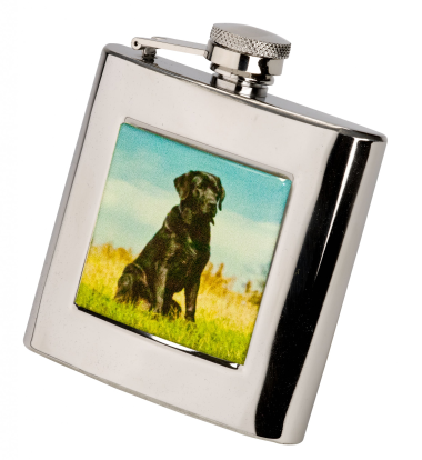 6oz Square Hip Flask - Black Labrador
