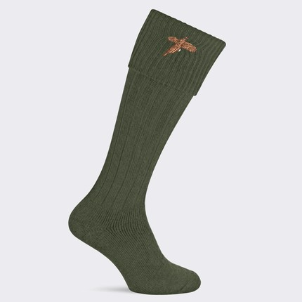 Pennine Stalker Shooting Socks With Pheasant Logo - Olive