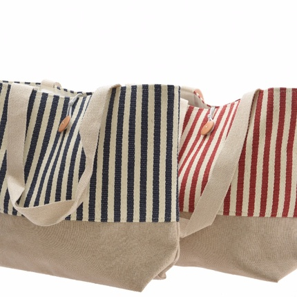 Striped canvas shopping bag - red or blue