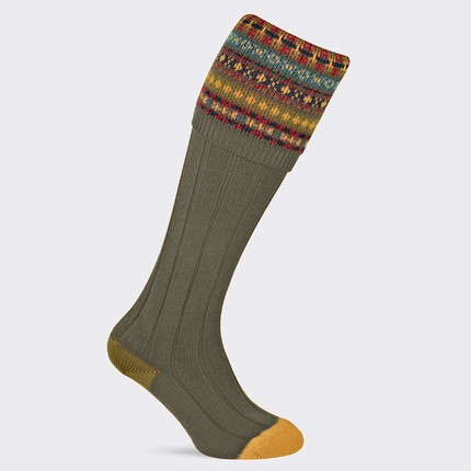 Pennine Fairisle Men's Merino Shooting Socks (Olive)