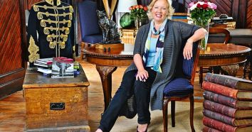 Deborah Meaden at her working textile mill in Somerset