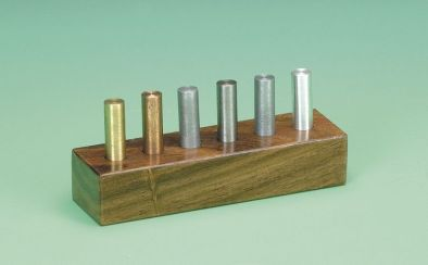Cylinders,Metal.Set of 6 in wood case 40mmx10mmDia