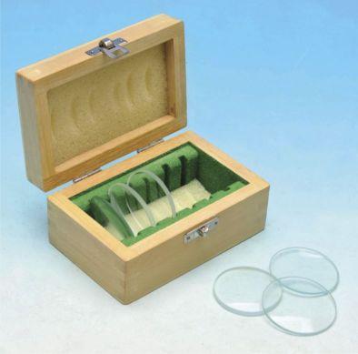Lens, 6 asstd 50mm dia. in wooden box