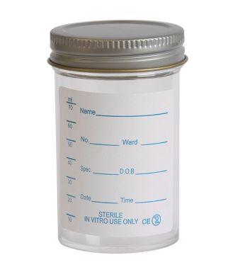 Specimen Container, Metal Cap 100ml, Printed label (Pk200)