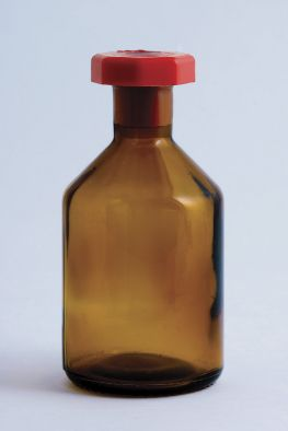 Reagent Bottle, Amber Glass, 50ml Plastic Stopper