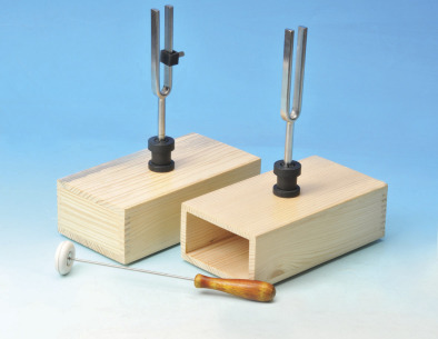 Tuning Fork on Resonance Box, Steel. (Pair)