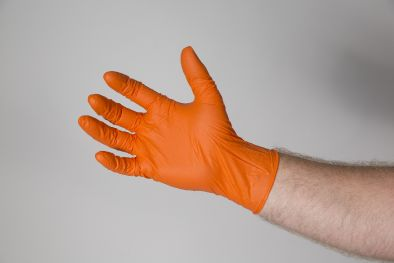 Gloves, Nitrile Orange Powder Free Micro Textured  XXL