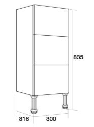 300 3 drawer unit