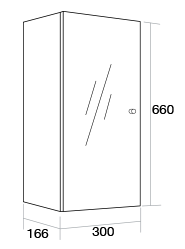 300 Single mirror wall unit Left Hand