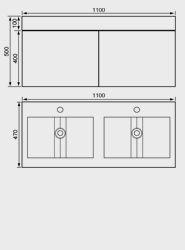 1100mm Washbasin Unit & Basin