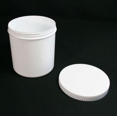Plastic Pot c/w Lid (White Round)
