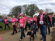 Some of the jhai Northampton team participating in the Crazy Hats sponsored walk with Nelly the dog