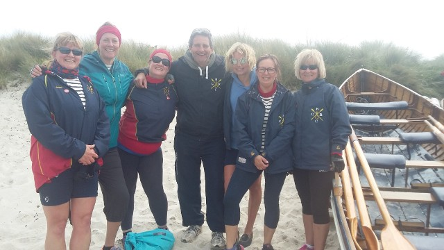 Zoe Stansfield with her gig rowing team at the Scillies 2017
