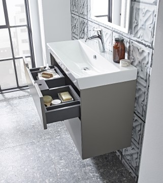 Image 4 Monograph 800mm light grey basin unit