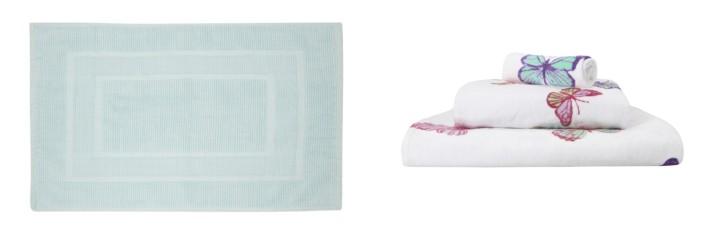 Image 3 Cotton Bath Mat Duck Egg & Summer Meadow Butterfly towels