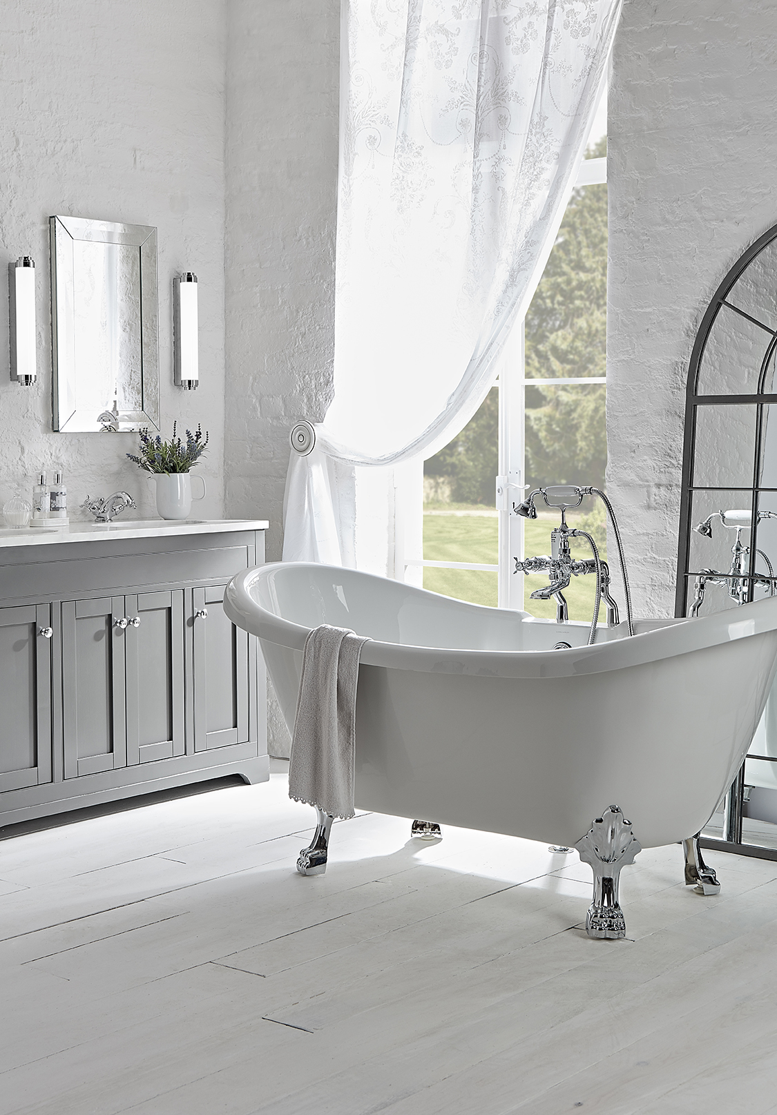 Marlborough 1200mm charcoal unit and traditional mirror lifestyle
