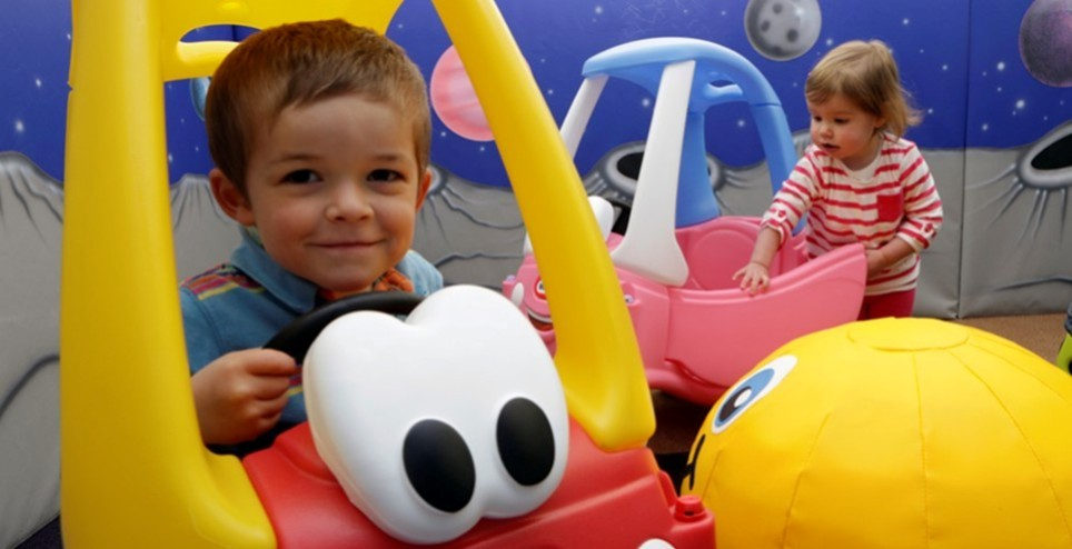 Encourage their sense of adventure…ride on cars, slides, ball pools & soft play